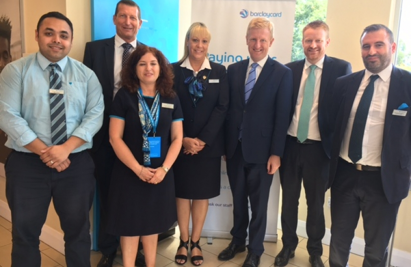 Oliver Dowden MP with the staff of Barclays Bank, Shenley Road - July 2017