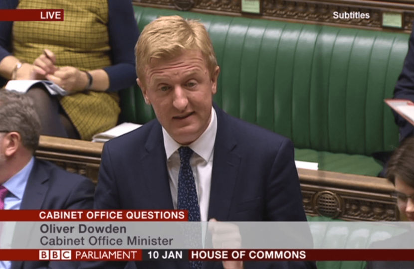 Oliver Dowden CBE MP at Cabinet Office Questions - 10.01.18
