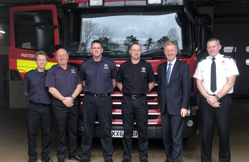 Oliver Dowden at Potters Bar Fire Station